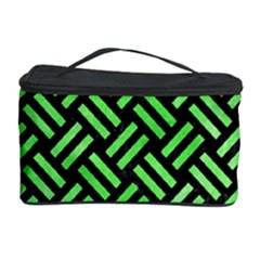 Woven2 Black Marble & Green Watercolor Cosmetic Storage Case