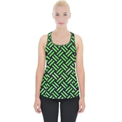 Woven2 Black Marble & Green Watercolor Piece Up Tank Top