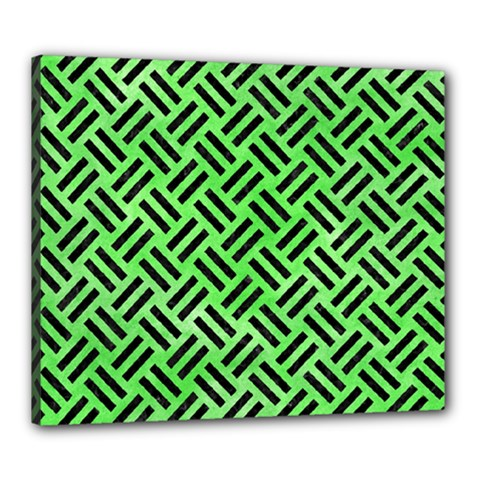 Woven2 Black Marble & Green Watercolor (r) Canvas 24  X 20