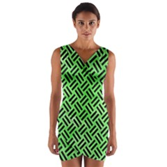 Woven2 Black Marble & Green Watercolor (r) Wrap Front Bodycon Dress