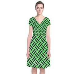 Woven2 Black Marble & Green Watercolor (r) Short Sleeve Front Wrap Dress