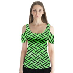 Woven2 Black Marble & Green Watercolor (r) Butterfly Sleeve Cutout Tee