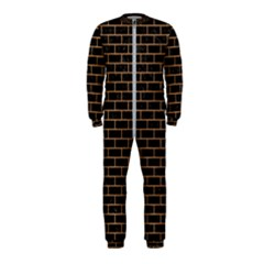 Brick1 Black Marble & Light Maple Wood Onepiece Jumpsuit (kids)