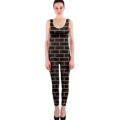 Brick1 Black Marble & Light Maple Wood Onepiece Catsuit