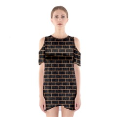 Brick1 Black Marble & Light Maple Wood Shoulder Cutout One Piece