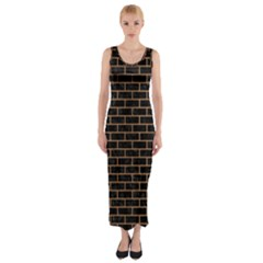 Brick1 Black Marble & Light Maple Wood Fitted Maxi Dress