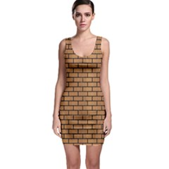 Brick1 Black Marble & Light Maple Wood (r) Bodycon Dress
