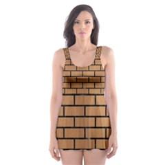 Brick1 Black Marble & Light Maple Wood (r) Skater Dress Swimsuit