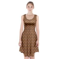 Brick1 Black Marble & Light Maple Wood (r) Racerback Midi Dress