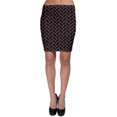 Brick2 Black Marble & Light Maple Wood Bodycon Skirt