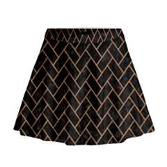 Brick2 Black Marble & Light Maple Wood Mini Flare Skirt