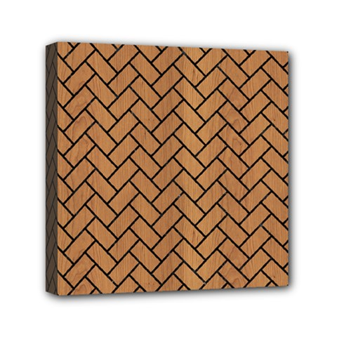 Brick2 Black Marble & Light Maple Wood (r) Mini Canvas 6  X 6