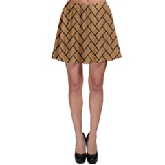 Brick2 Black Marble & Light Maple Wood (r) Skater Skirt