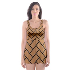 Brick2 Black Marble & Light Maple Wood (r) Skater Dress Swimsuit