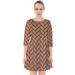 Brick2 Black Marble & Light Maple Wood (r) Smock Dress