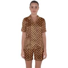 Brick2 Black Marble & Light Maple Wood (r) Satin Short Sleeve Pyjamas Set