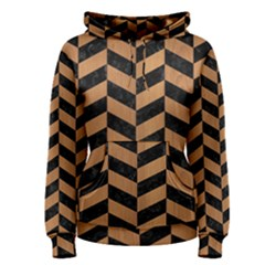 Chevron1 Black Marble & Light Maple Wood Women s Pullover Hoodie