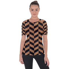 Chevron1 Black Marble & Light Maple Wood Short Sleeve Top