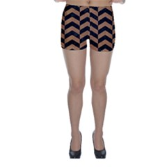 Chevron2 Black Marble & Light Maple Wood Skinny Shorts