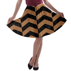 Chevron2 Black Marble & Light Maple Wood A Line Skater Skirt
