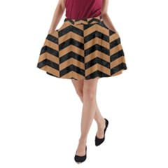 Chevron2 Black Marble & Light Maple Wood A Line Pocket Skirt