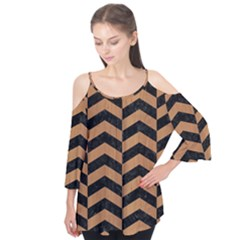 Chevron2 Black Marble & Light Maple Wood Flutter Tees