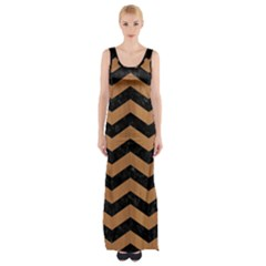 Chevron3 Black Marble & Light Maple Wood Maxi Thigh Split Dress