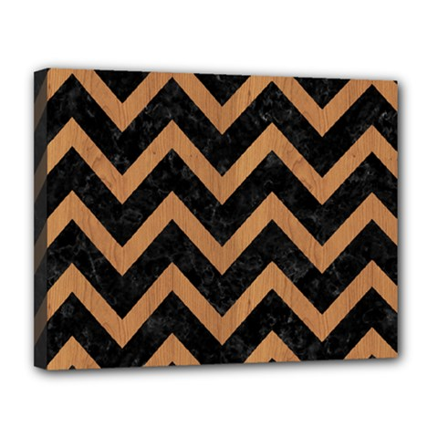 Chevron9 Black Marble & Light Maple Wood Canvas 14  X 11