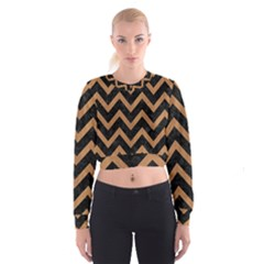 Chevron9 Black Marble & Light Maple Wood Cropped Sweatshirt