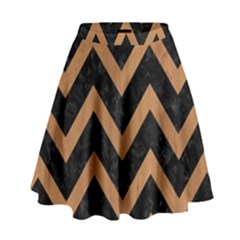 Chevron9 Black Marble & Light Maple Wood High Waist Skirt