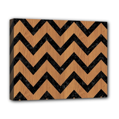 Chevron9 Black Marble & Light Maple Wood (r) Deluxe Canvas 20  X 16
