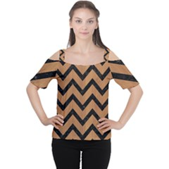 Chevron9 Black Marble & Light Maple Wood (r) Cutout Shoulder Tee