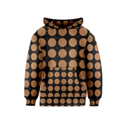Circles1 Black Marble & Light Maple Wood Kids  Pullover Hoodie