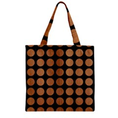 Circles1 Black Marble & Light Maple Wood Zipper Grocery Tote Bag