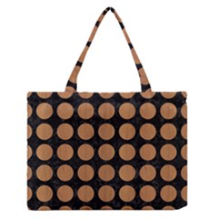 Circles1 Black Marble & Light Maple Wood Zipper Medium Tote Bag