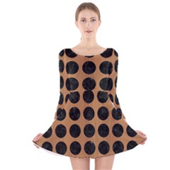 Circles1 Black Marble & Light Maple Wood (r) Long Sleeve Velvet Skater Dress