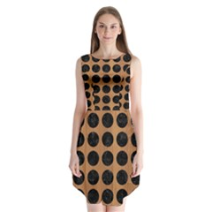 Circles1 Black Marble & Light Maple Wood (r) Sleeveless Chiffon Dress