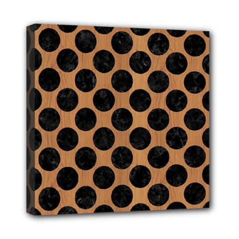 Circles2 Black Marble & Light Maple Wood (r) Mini Canvas 8  X 8