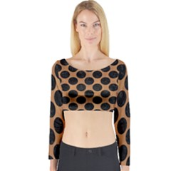 Circles2 Black Marble & Light Maple Wood (r) Long Sleeve Crop Top