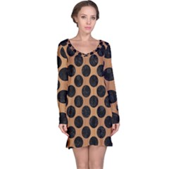 Circles2 Black Marble & Light Maple Wood (r) Long Sleeve Nightdress