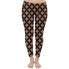 Circles3 Black Marble & Light Maple Wood (r) Classic Winter Leggings