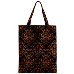 Damask1 Black Marble & Light Maple Wood Zipper Classic Tote Bag
