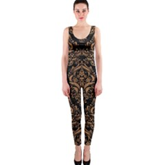 Damask1 Black Marble & Light Maple Wood Onepiece Catsuit