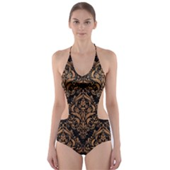 Damask1 Black Marble & Light Maple Wood Cut Out One Piece Swimsuit