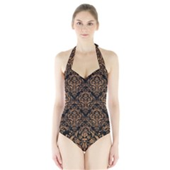 Damask1 Black Marble & Light Maple Wood Halter Swimsuit