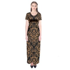 Damask1 Black Marble & Light Maple Wood Short Sleeve Maxi Dress