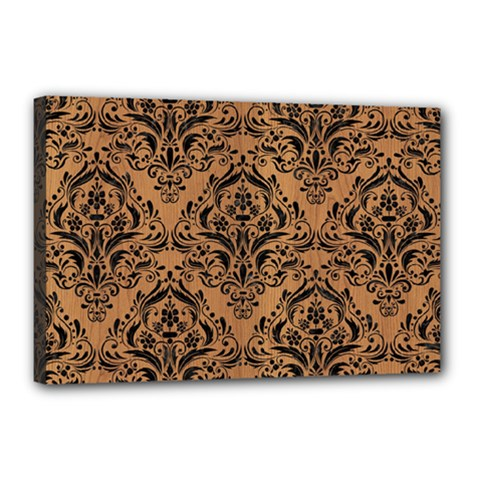 Damask1 Black Marble & Light Maple Wood (r) Canvas 18  X 12