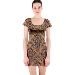 Damask1 Black Marble & Light Maple Wood (r) Short Sleeve Bodycon Dress
