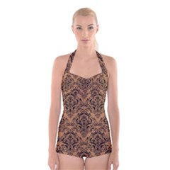Damask1 Black Marble & Light Maple Wood (r) Boyleg Halter Swimsuit