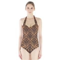 Damask1 Black Marble & Light Maple Wood (r) Halter Swimsuit